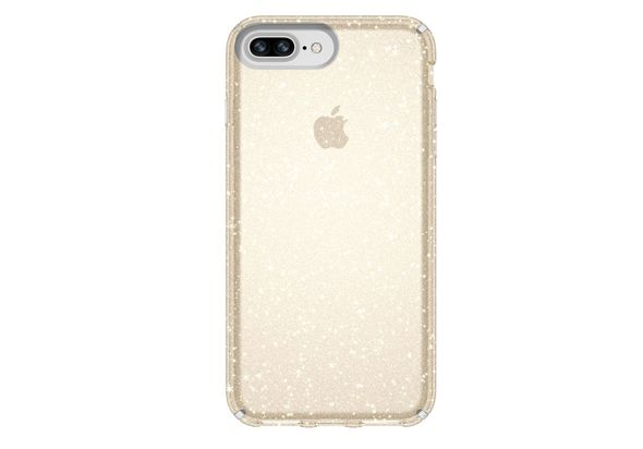 Speck Presidio Clear+ Glitter iPhone 8 Plus Case, Gold Glitter/Clear