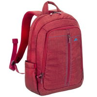"Riva Case 7560 Laptop Canvas Backpack 15.6"" , Red"