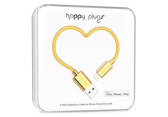 Happy Plugs lightning charge/sync cable, Gold