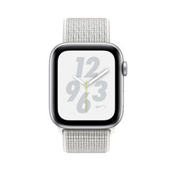 Apple Watch Nike+ Series 4 GPS+ Cellular, 44mm Silver Aluminum Case with Summit White Nike Sport Loop