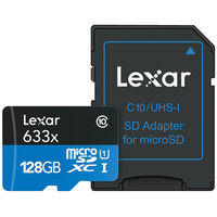 Lexar 128GB High-Performance 633x microSDXC UHS-I Memory Card with Adapter
