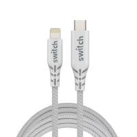 Switch Ultra Rugged USB-C To MFI Lightning Charge and SYNC Cable 1.2M, White