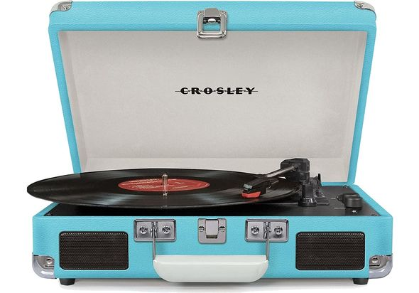 Crosley CR8005D-TU4 Cruiser Deluxe Turntable with Speaker, Turquoise - CH