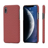 Pitaka MagEZ Case for iPhone Xs Max, Red/Orange (Herringbone)