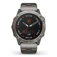 Garmin Fenix 6X Pro Solar Edition Multisport GPS Watch, Titanium Carbon Grey