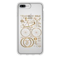 Speck Presidio Clear Print Case for iPhone 8+ /7+ /6s+ /6+ , CityBike Metallic Gold Yellow/Clear