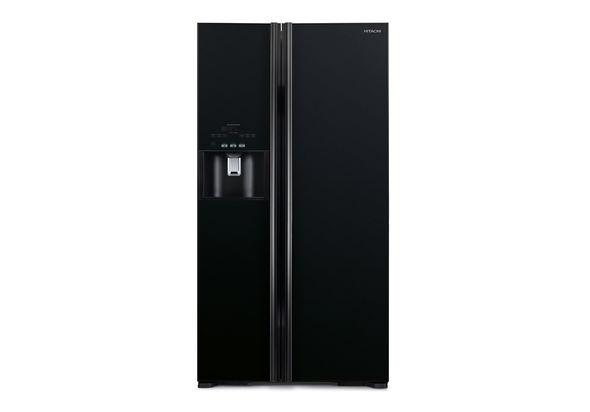 Hitachi RS700GPUK2GBK 700L Side By Side Refrigerator, Glass Black