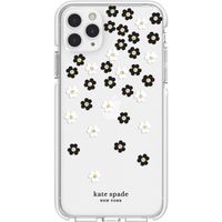Kate Spade New York Defensive Hardshell Case for Apple iPhone 11 Pro Max, White/Clear/Scattered Flowers Black/Gold Gems
