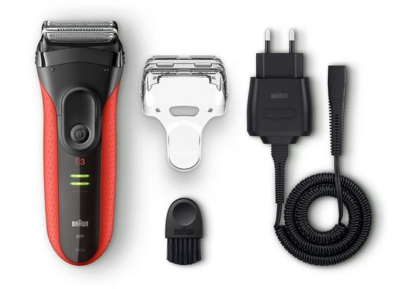 Braun Series 3 ProSkin 3030s Rechargeable electric foil Shaver with Long Hair Trimmer, Red