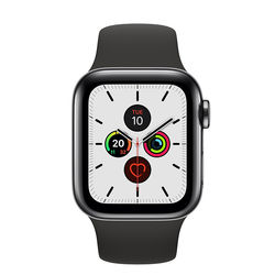 Apple Watch Series 5 44mm Space Black Stainless Steel Case with Sport Band, GPS+ Cellular