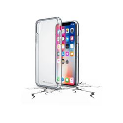 Cellularline Duo Hard Case with Book Style Flap for iPhone X, Clear