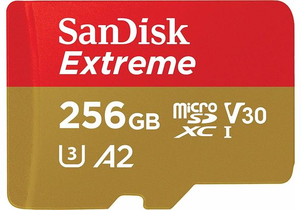 SanDisk 256GB Extreme MicroSDXC UHS-I Memory Card with Adapter