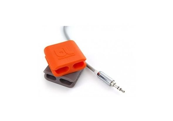 BlueLounge Cable Clip 2 Packs Medium, Orange/Grey