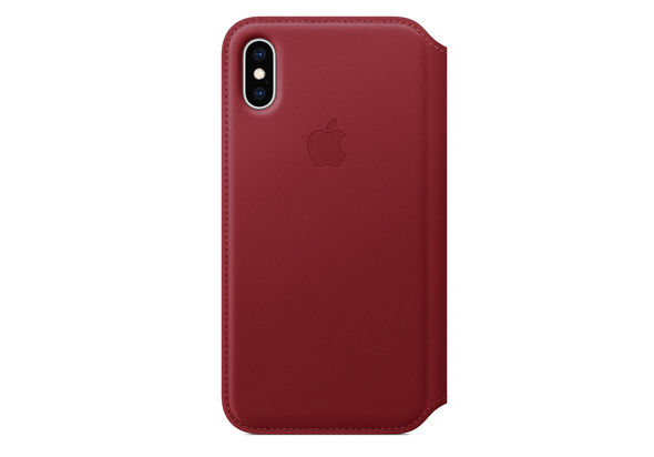 Apple iPhone XS Leather Folio Case,  Red