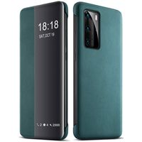 Huawei HUA-P40PRO-PU-GRN Smart Clear View Mirror PU Leather Shockproof Slim Case Cover Green