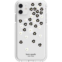 Kate Spade New York Defensive Hardshell Case for Apple iPhone 11, White/Clear/Scattered Flowers Black/Gold Gems