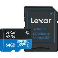 Lexar 64GB High-Performance 633x microSDXC UHS-I Memory Card with Adapter