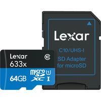Lexar 64GB High-Performance 633x microSDXC UHS-I Memory Card with Adapter