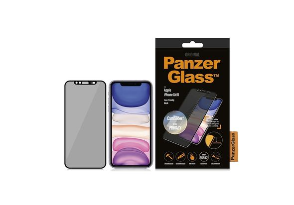 PanzerGlass Apple iPhone XR/11 Black & Case Friendly, CamSlider & Dual Privacy