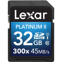 Lexar 32GB SDHC 300X Premium II Memory Card (Class 10) U1
