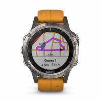 Garmin Fenix 5 Plus Multisport GPS Smartwatch, Titanium/Orange