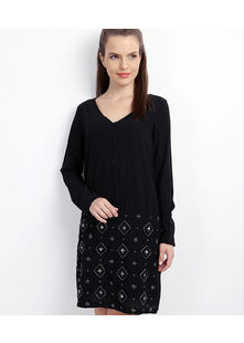 Embelished Skirt combined Dress,  black, l