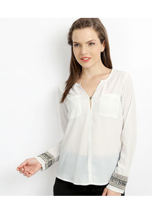 Long bangle Sleeve Top,  off-white, l