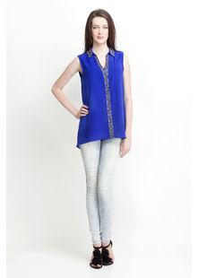 Sleeveless Shirt look Top,  blue, s