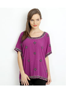 All over embroidered Top,  berry, s