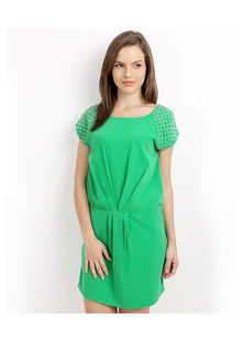 Tunic Dress with Pleated Waist and pearl shoulder,  mint green, l