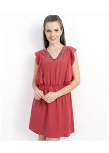 Short Dress with Petal Panel Sleeve,  coral, m