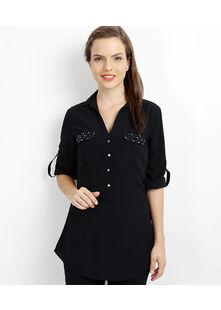 Crystal Pocket Shirt,  black, m