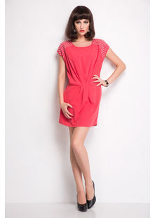 Tunic Dress with Pleated Waist and pearl shoulder,  coral, s