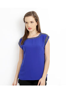 Tunic Top shoulder sleeve outline embroidery,  blue, s