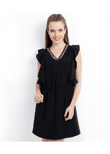 Short Dress with Petal Panel Sleeve,  black, m