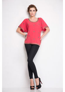 All over embroidered Top,  coral, s