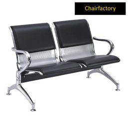 Glacier Two Seater Silver Airport Seating With Black Cushion, tan