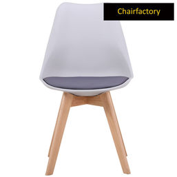 Toto Modern Chair with Wooden Legs - Grey Shell with Black Seat Cushion