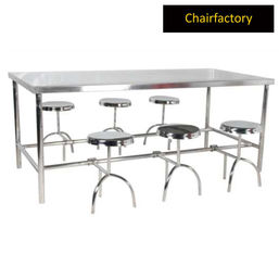 Industrial Canteen Eight Seater Table With Fixed Folding Stools In MS Frame