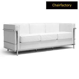 Le Corbusier Petit Comfort Replica White Sofa - Three Seater, royal blue