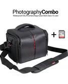 Photography Combo Deal - Waterproof Anti-Shock DSLR Camera Bag for Canon, Nikon, Samsung, and Sony+ 8 GB Memory Card Class 10
