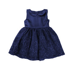 Navy Twists- Lace Dress with Peter Pam Collar, 2-3yrs, blue