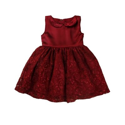 Maroon Lace Dress with a Cream Rose, 12-18months, maroon