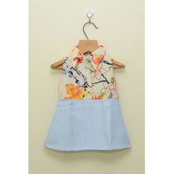 TINY TODDLER - BLUE DENIM AND FLORAL PRINT, 6-12months, multicolor