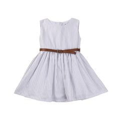 Summer Frocks- Black and White Striped Frock with Tan Belt, 18-24months, black and white