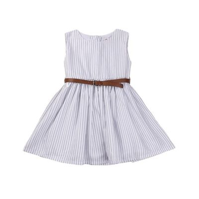 Summer Frocks- Black and White Striped Frock with Tan Belt, black and white, 2-3yrs