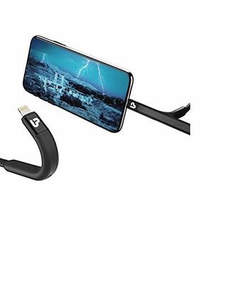 Ultraprolink Ul1011L-0020 Flex Usb Sync & Fast Charge Cable For Iphone With Flexible Stand 1.2M, 2.4A (Black), multicolour