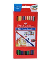 Faber Castell Bi-Color Pencil Set - Pack of 12 (Assorted)