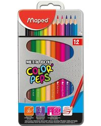 Maped Color Pencils - Metal Box Of 12 Pcs