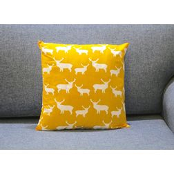 Deer Print Cushion MYC-26, pack of 1, yellow